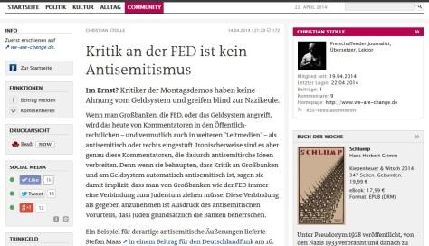 Kritik an der FED ist kein Antisemitismus – der Freitag